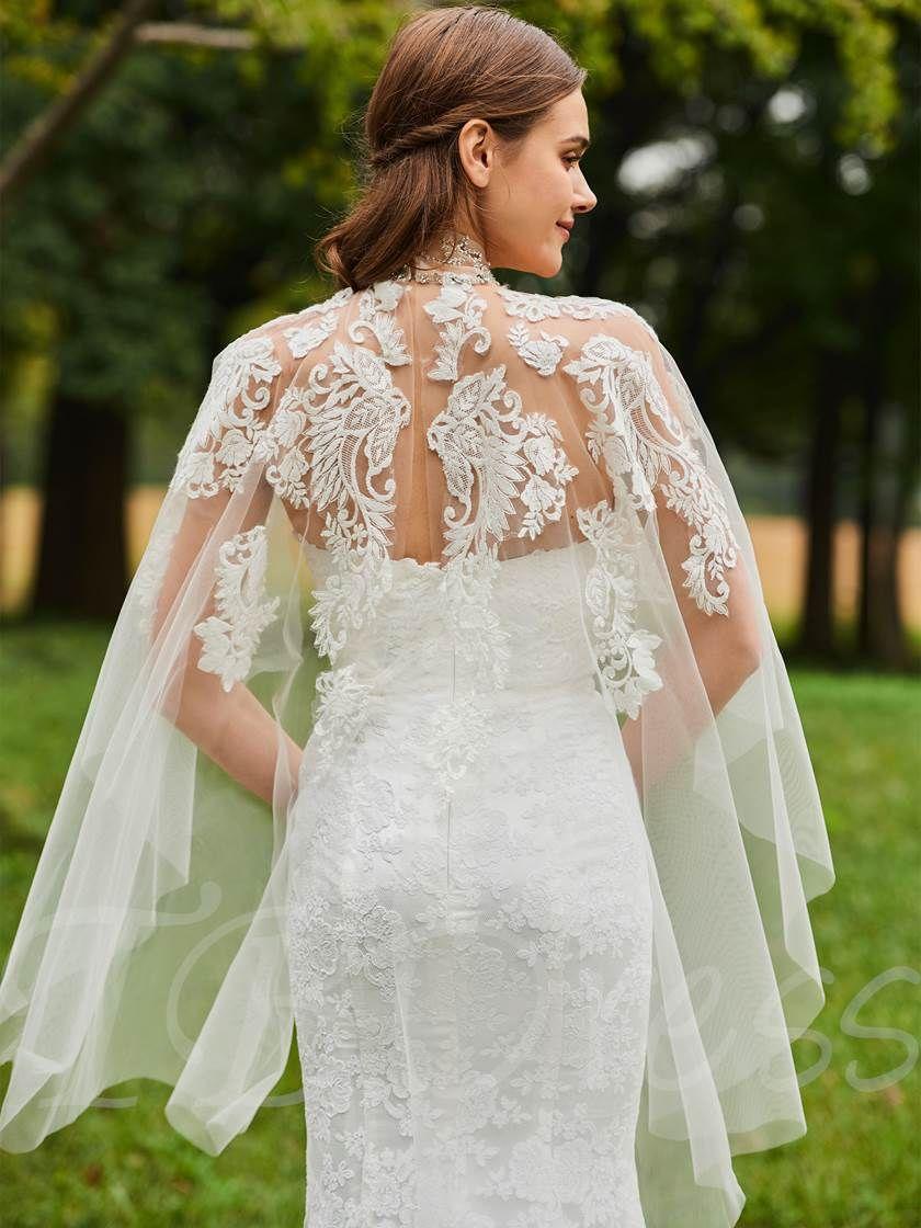 Mermaid lace wedding dress  Sweetheart Mermaid Lace Wedding Dress with Shawl  F  Gowns