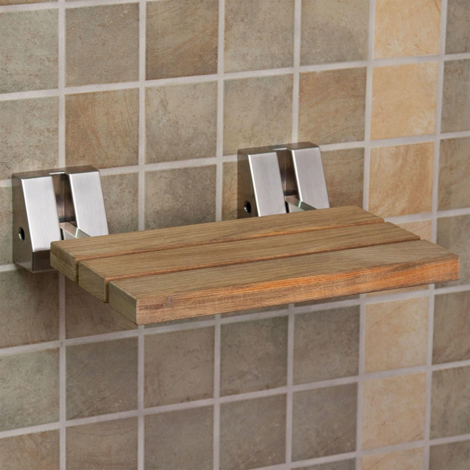 Wall-Mount Teak Folding Shower Seat - Shower Seats - Bathroom ...