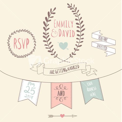 Wedding Invitation Template. Chalkboard Style Vector Card ...