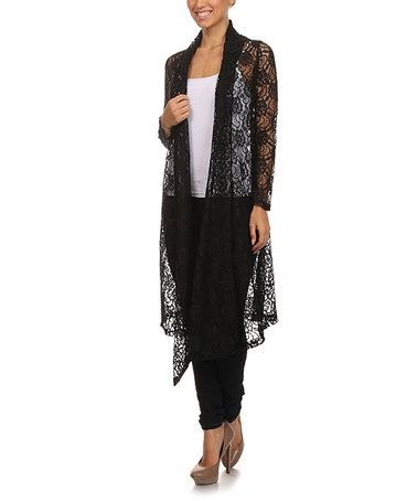 Loving this Black Floral Lace Open Duster on #zulily! #zulilyfinds