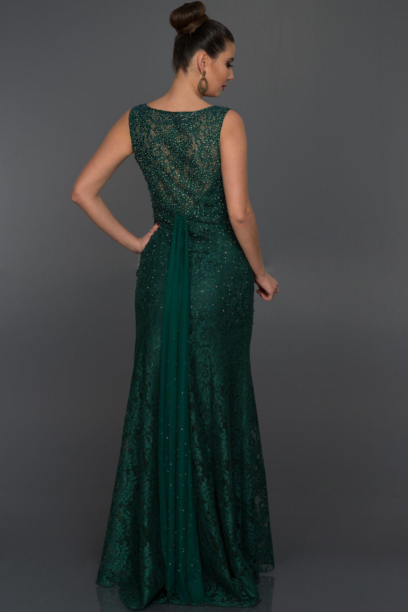 Uzun Yesil Dantelli Abiye Elbise Abu132 Elbise Kiyafet Vintage Gelinlikler