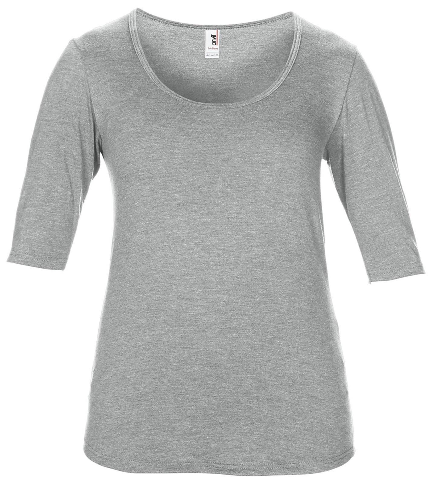 ANVIL Women/'s Tri-Blend Deep Scoop Neck 1//2 Sleeve Tee Casual Blank T-Shirt TOP