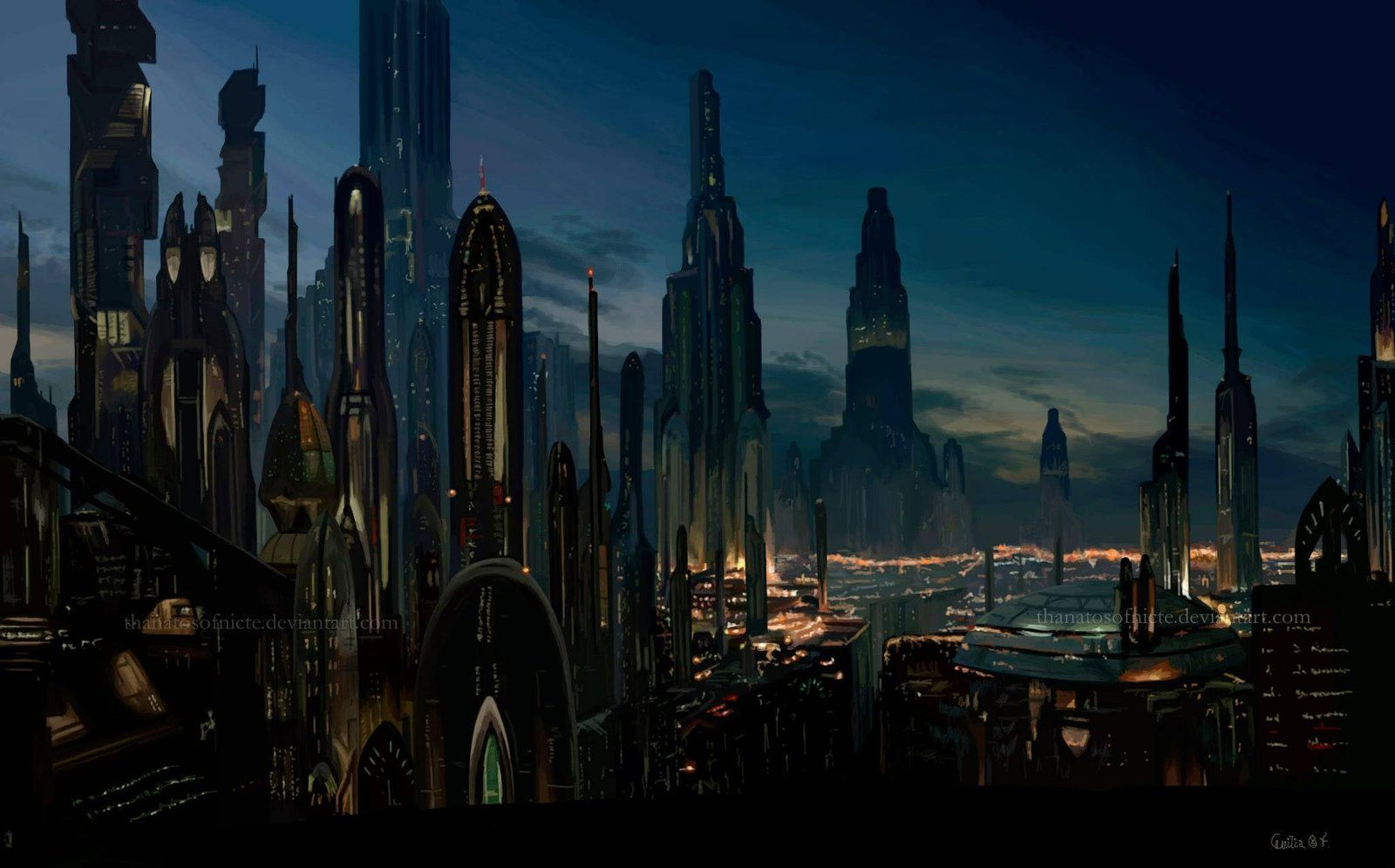 Coruscant Cecilia Gf Futuristic City City Wallpaper Star Wars Wallpaper