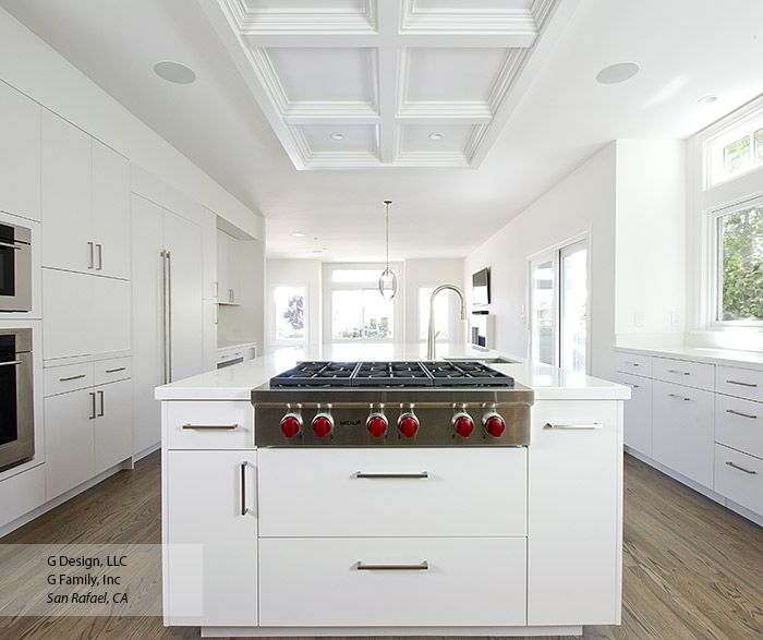 Clean And Pristine This All White Kitchen Features Modern