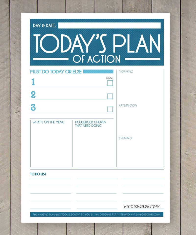 Printable Day Planner Organiser Agenda by SamOsborneStore on Etsy - free action plans