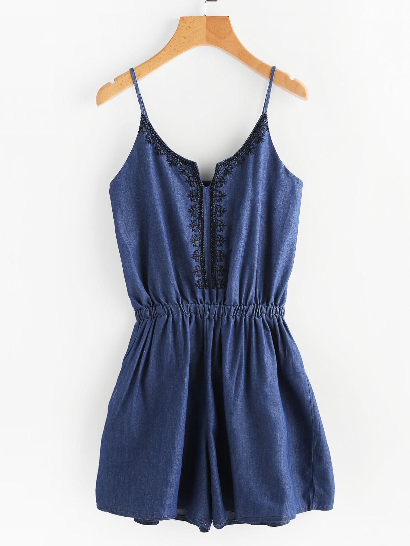d68351292cd AdoreWe  ROMWE ROMWE Embroidered Denim Cami Romper - AdoreWe.com ...