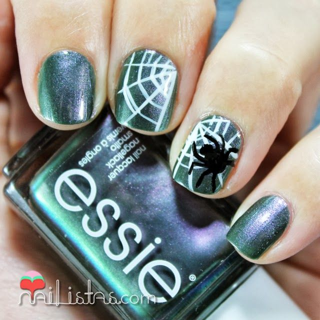 Halloween Manicure With Spider And Spiderweb Essie For The Twill Of