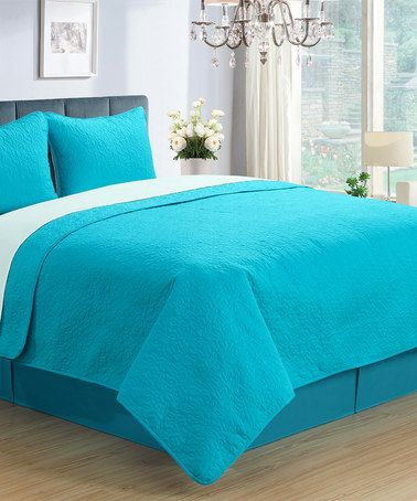 Another great find on #zulily! Turquoise Three-Piece Coverlet Set #zulilyfinds