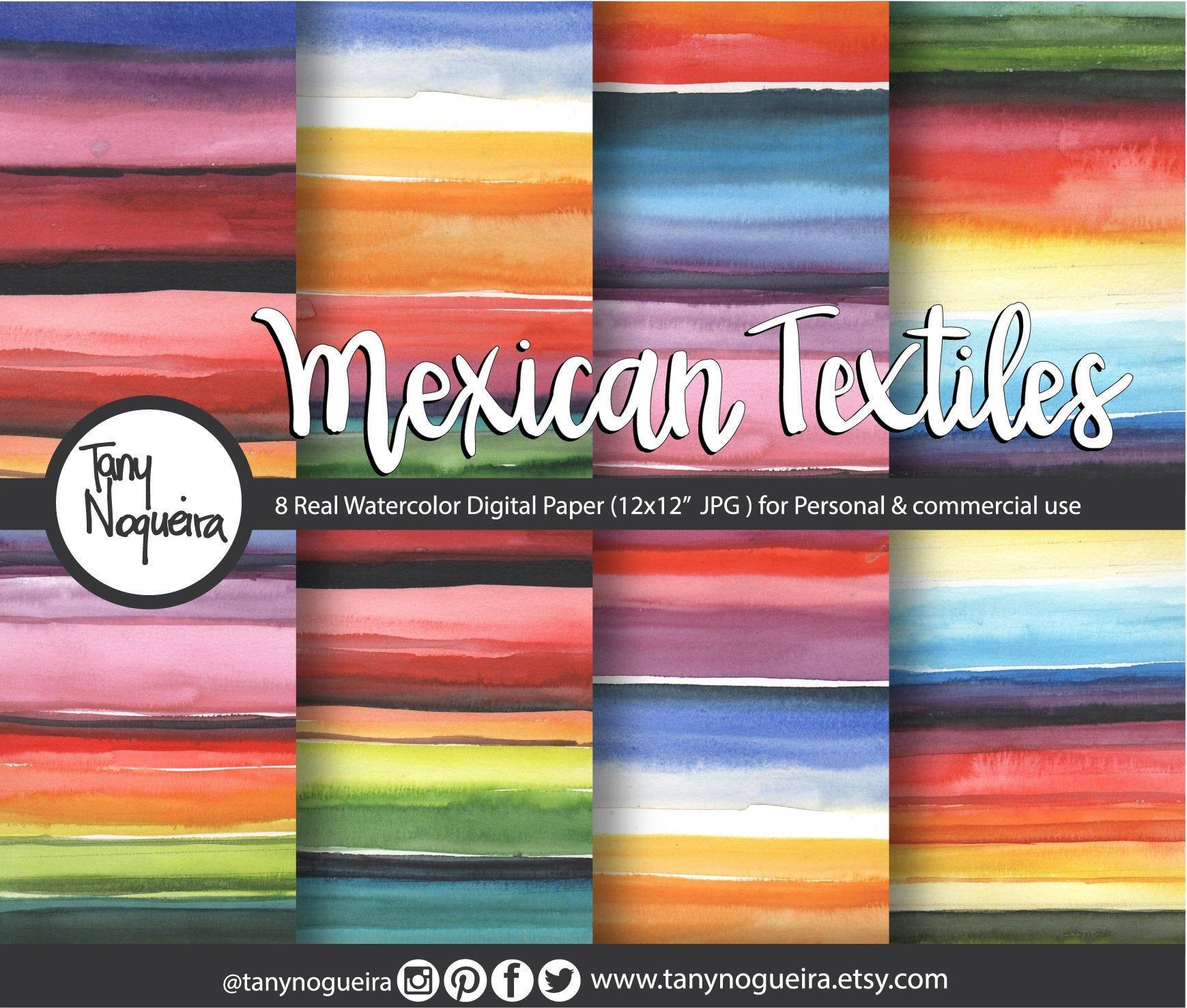 Mexican Textiles Watercolor Digital Paper, Backgrounds, Patterns, textures, for invites, cinco de mayo, events, mexican wedding, wall art