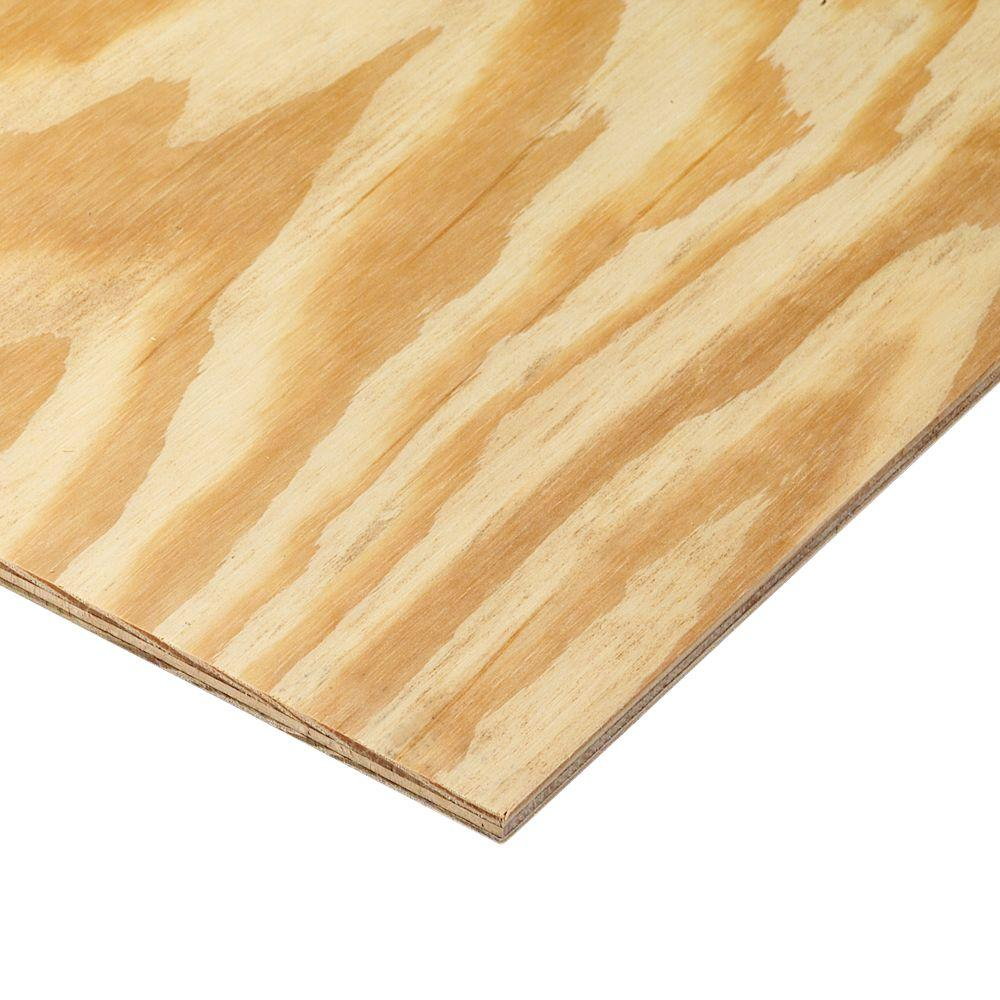 1 4 In X 4 Ft X 8 Ft Bc Sanded Pine Plywood 166014 The Home Depot Pine Plywood Refinishing Hardwood Floors Types Of Plywood