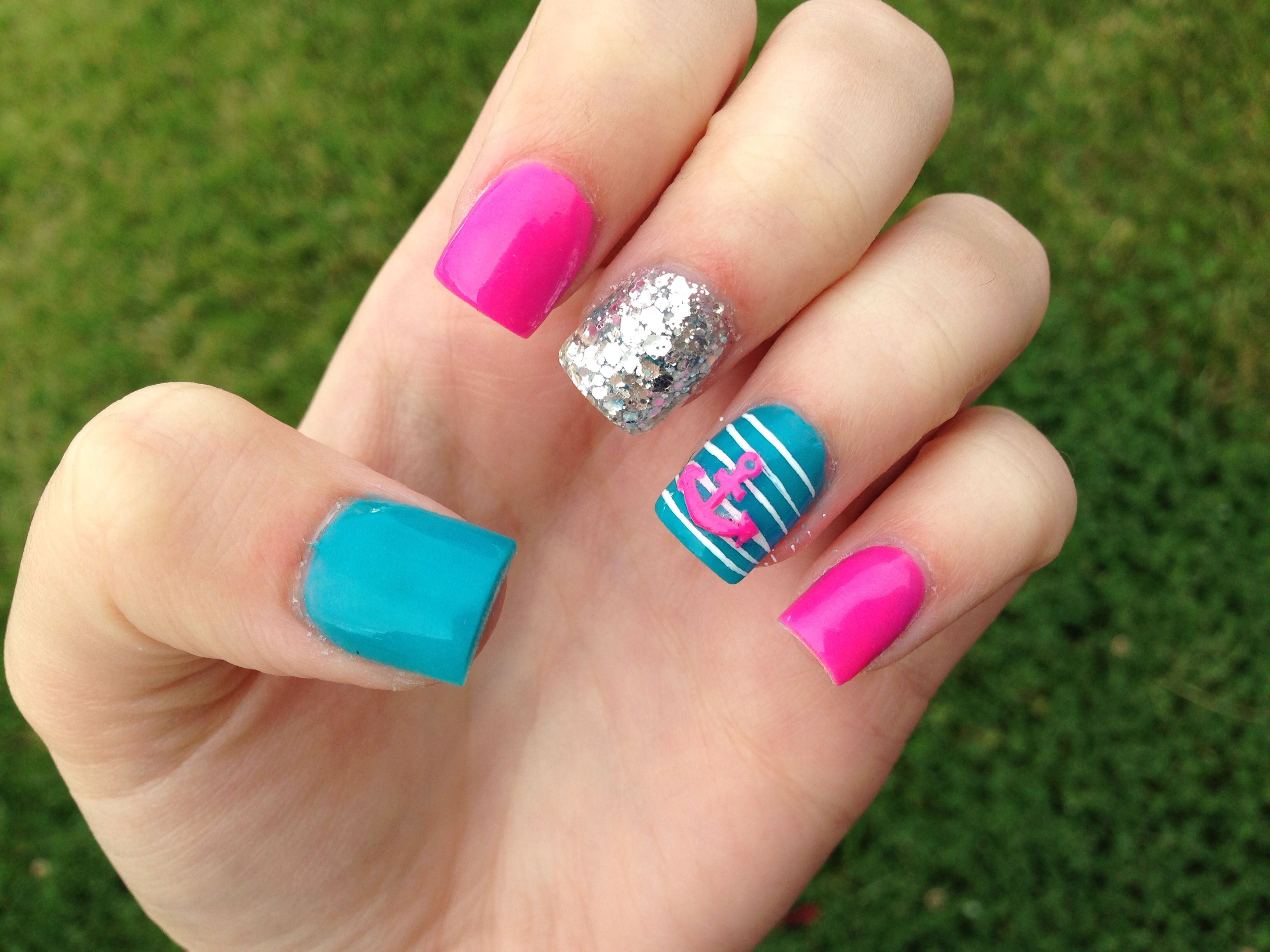 hot pink teal and anchor summer