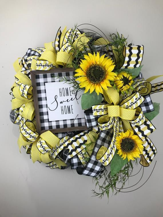 Photo of Sunflower Wreath, Home Sweet Home Decor, Everyday Wreath, Spring Wreath, Summer Wreath, New Home Gift, Country Decor, Wall Decor