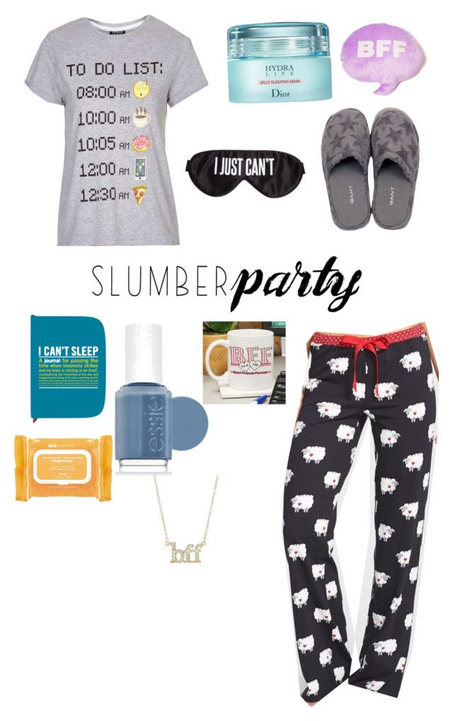 """Sleepover"" by projectalice5 on Polyvore featuring Topshop, P.J. Salvage, Christian Dior, Perpetual Shade, GANT, Knock Knock, Essie, Ole Henriksen, Jennifer Meyer Jewelry and Throwboy"