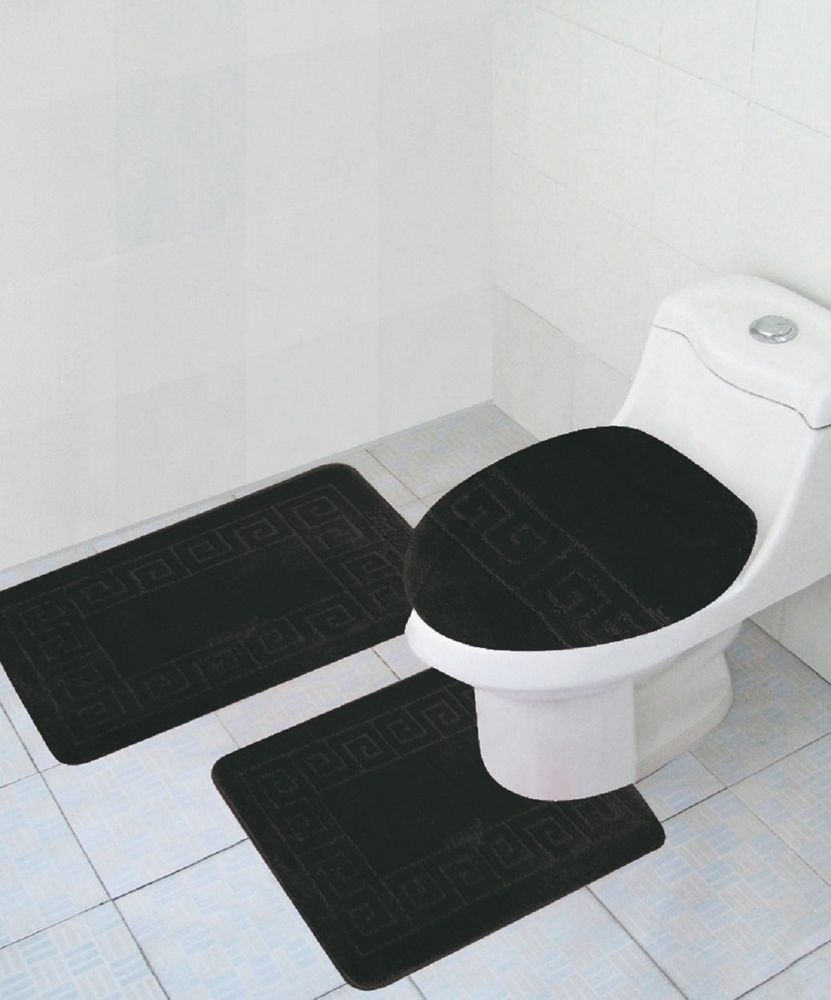 3 Piece Bathroom Set Black Rug Contour Mat Lid Cover Free Shipping