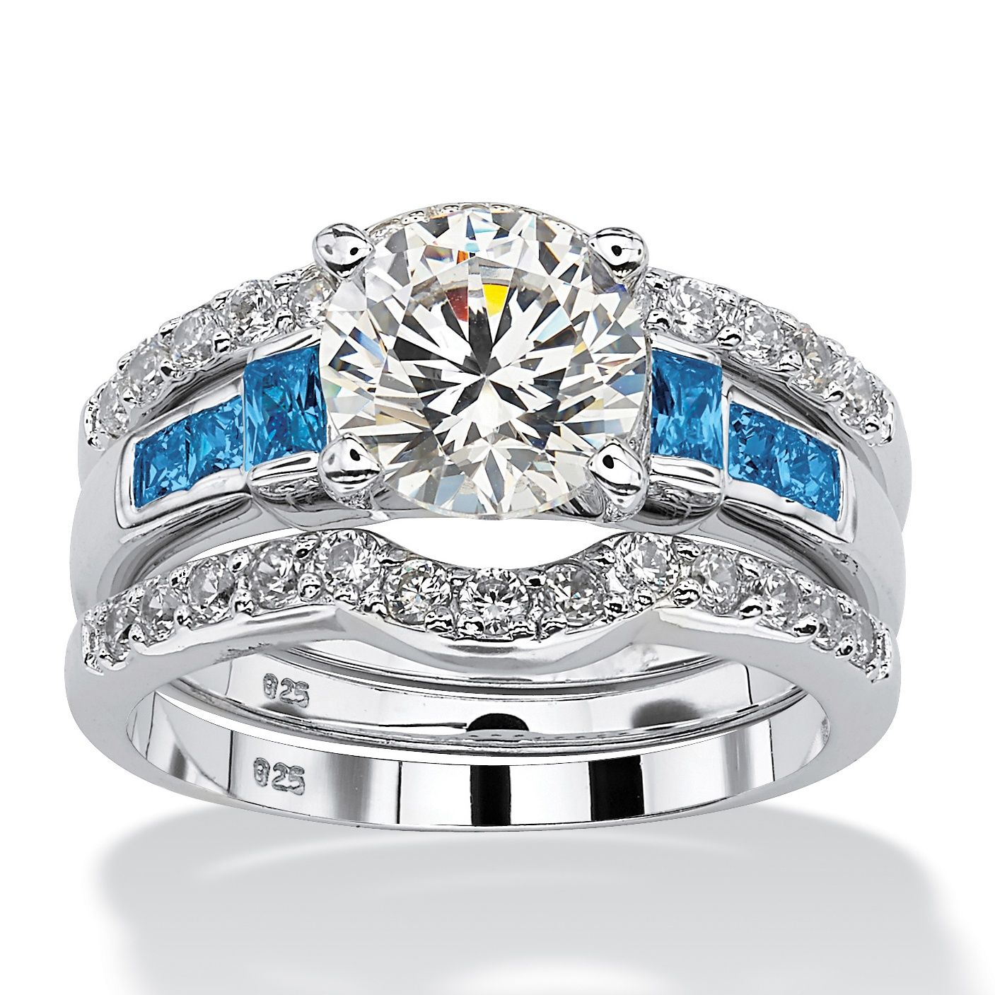 This dazzling three piece cubic zirconia bridal set features an