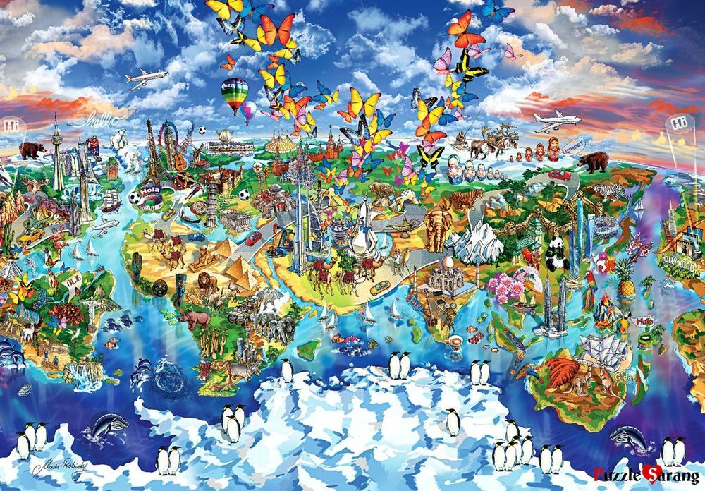 Jigsaw puzzles 1000 pieces world map of world wonders maria jigsaw puzzles 1000 pieces world map of world wonders maria rabinky gumiabroncs Image collections