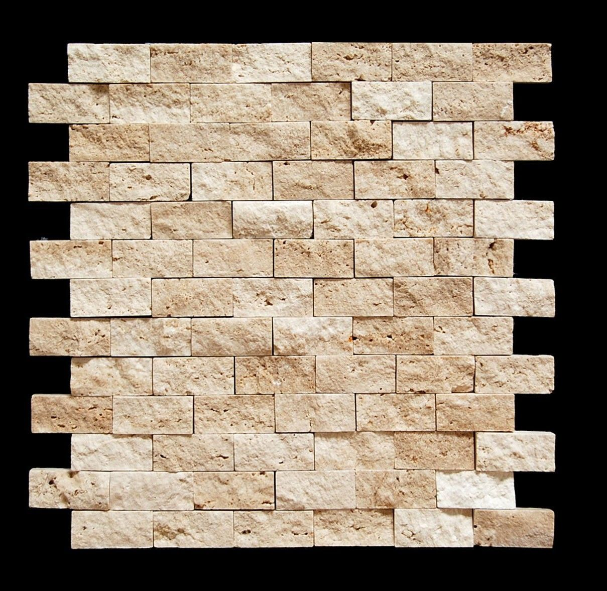 Light 1 x 2 split face travertine mosaic tile so cool for Split face travertine kitchen backsplash