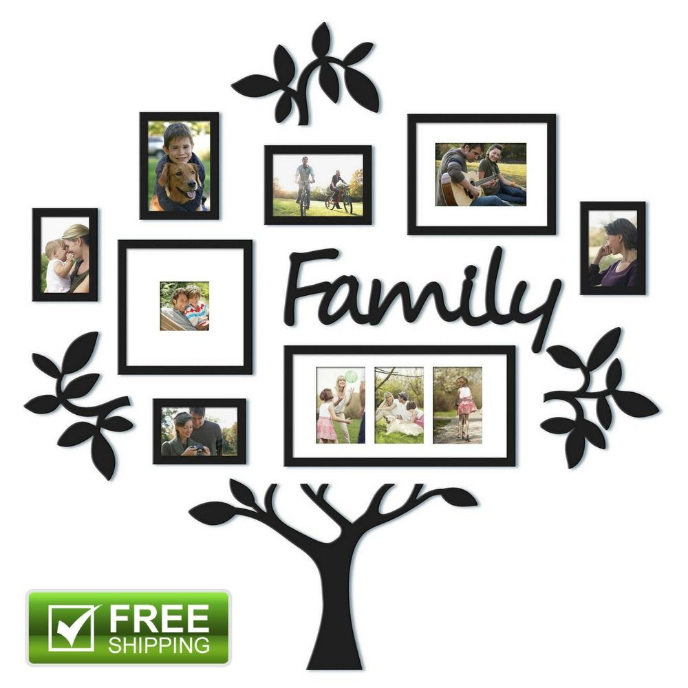 13 Piece Picture Photo Frame Set Family Tree Collage Gallery Wall Art Decor Home Amp Garden Family Tree Collage Family Tree Frame Family Tree Wall Decor