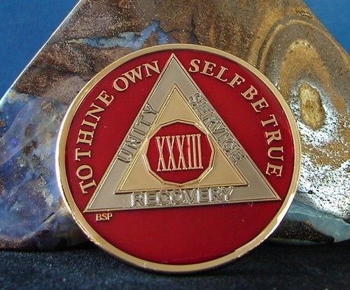 AA BSP Black Gold 4 Year Coin Tri-Plate Alcoholics Anonymous Medallion Top Grade