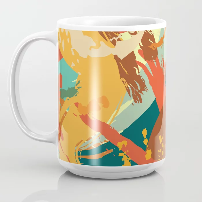 A new mug in Vivid Strokes in Orange and Teal Coffee Mug by MadAlleyDesigns? Yes, please! | Society6 . #painterly #colortrend2020 #brushstrokes #colorfulmug