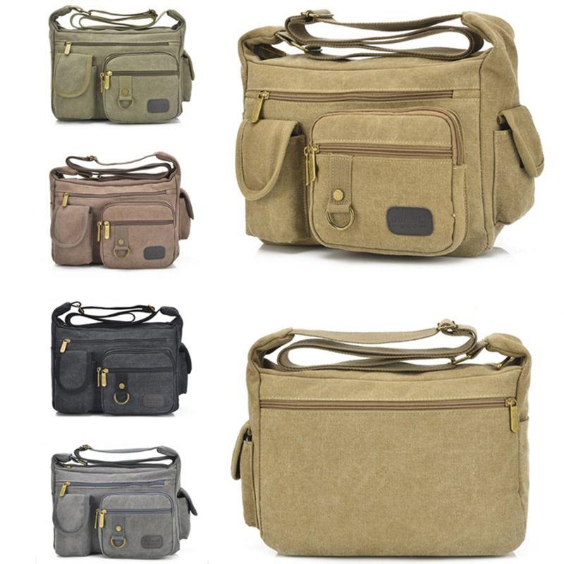Retro Unisex Canvas Hand Bag Phone Pocket SingleShoulder Zipper Document Package #Unbranded