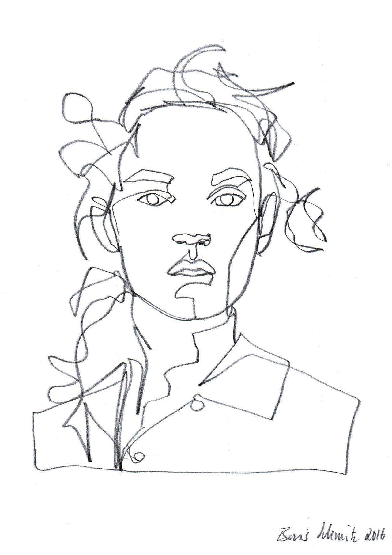 Gaze 417 continuous line drawing by boris schmitz for Art of minimal boris