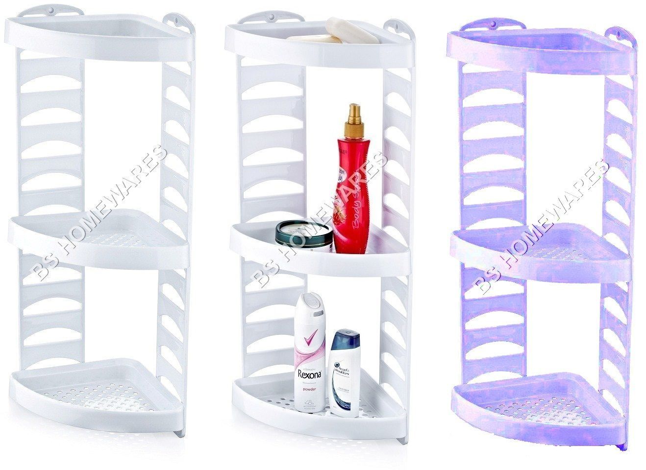 3 Tier Plastic Corner Shower Caddy Bath Storage Shelf Rack Basket