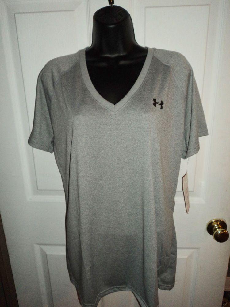 NEW Under Armour Women's HEATGEAR Tech Short Sleeve Tee SHIRT GRAY size XL       #UnderArmour #ShirtsTops