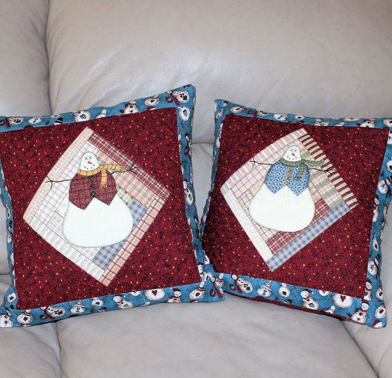 Quilted Snowmen Throw Pillows for Christmas by QuiltSewPieceful, $40.00
