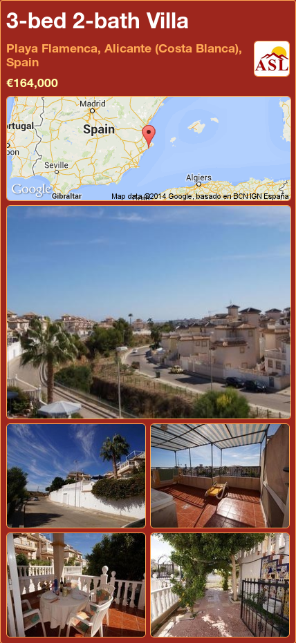 3-bed 2-bath Villa in Playa Flamenca, Alicante (Costa Blanca), Spain ►€164,000 #PropertyForSaleInSpain