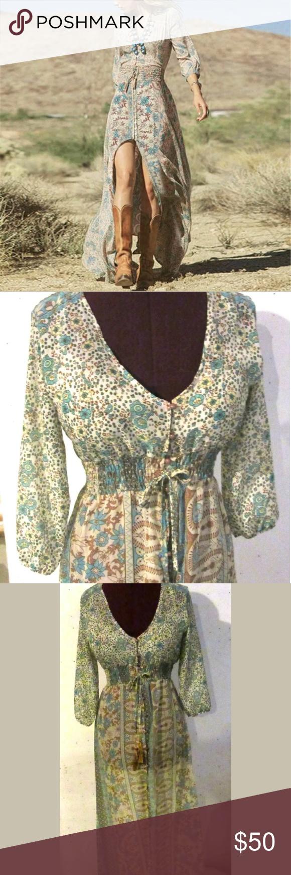 Bohemian see through button up maxi dress my posh picks