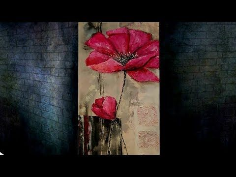 2 Acrylic Painting Techniques Youtube Blumen Kunst Wie Man Blumen Malt Abstrakte Malerei