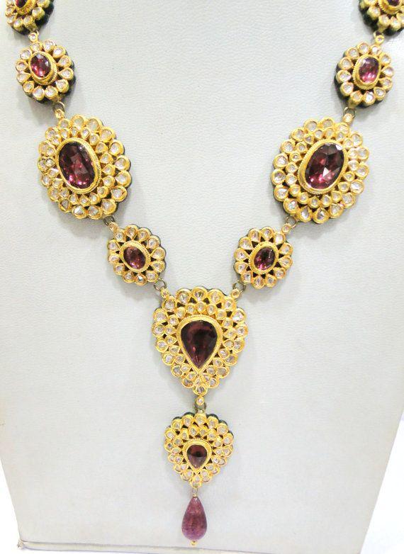 Vintage antique solid 20K Gold jewelry Diamond Rhodolite enamel work