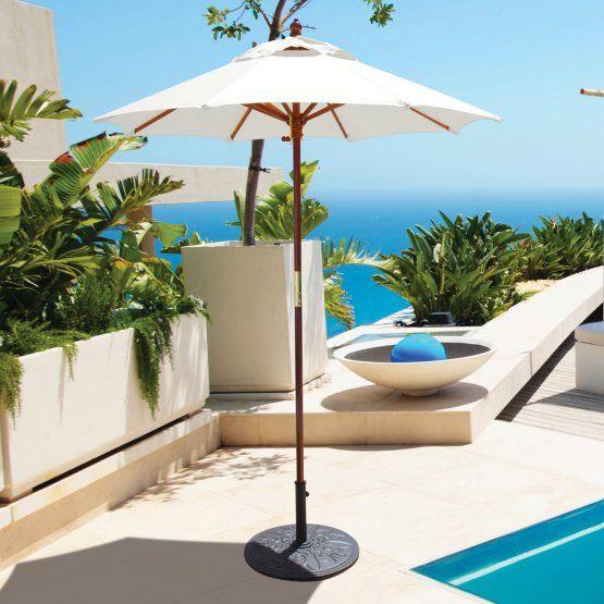 Galtech 6 Ft Wood Suncrylic Cafe Market Patio Umbrella