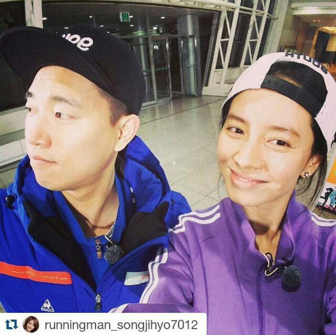 Song Ji Hyo and Kang Gary, Running Man ep  280 via Instagram | Kim