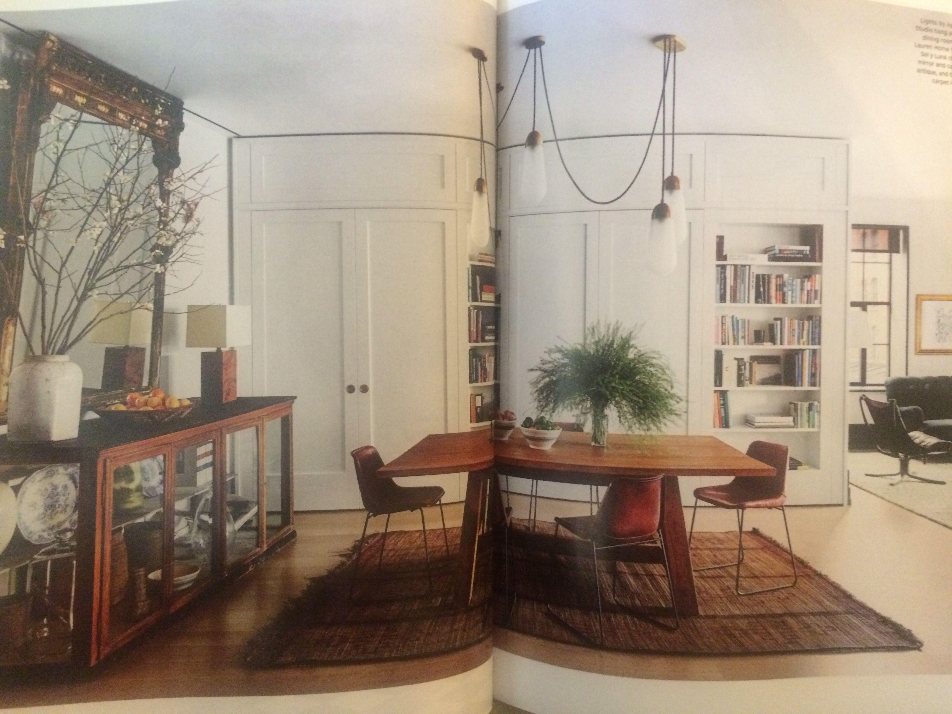 Lights by Apparatus Studio, built in cabinets, Ralph Lauren dining ...