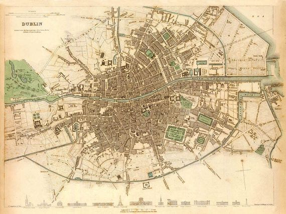Dublin Map Old Map Of Dublin Print Fine Reproduction Travel - Old maps of dublin