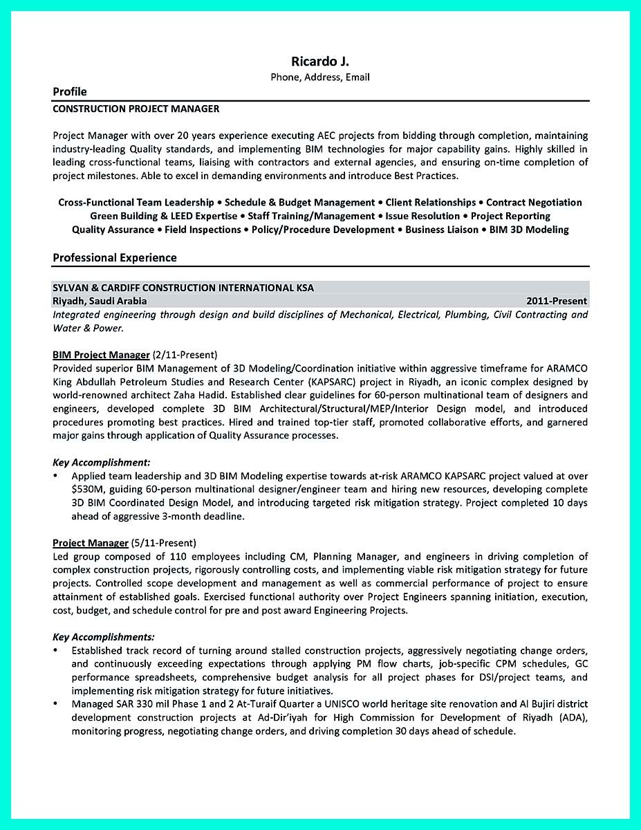 Plumbing Resume Nice Perfect Construction Manager Resume To Get Approved Check