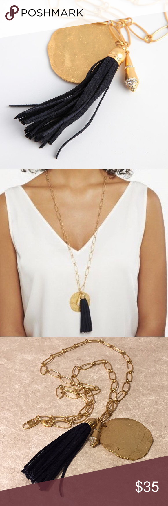 Stella & Dot Carla Tassel Necklace – Gold + Black This is a beautiful and elegant necklace from Stella & Dot, gold chain with pendant and necklace tassel. See pictures for details. Good condition minor wear. Be sure and check out other items in closet and bundle to receive discounts. Stella & Dot Jewelry Necklaces