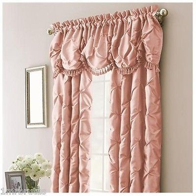 Beautiful 2 Nicole Miller Chateau Blush Pink Lined Rod Pocket Panels 100X95 Ruched  Curtain