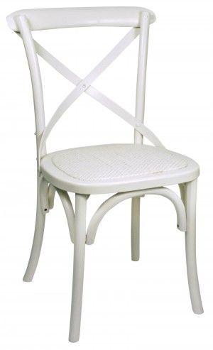 Witte landelijke stoel met gevlochten zitting home and for Witte keukenstoelen