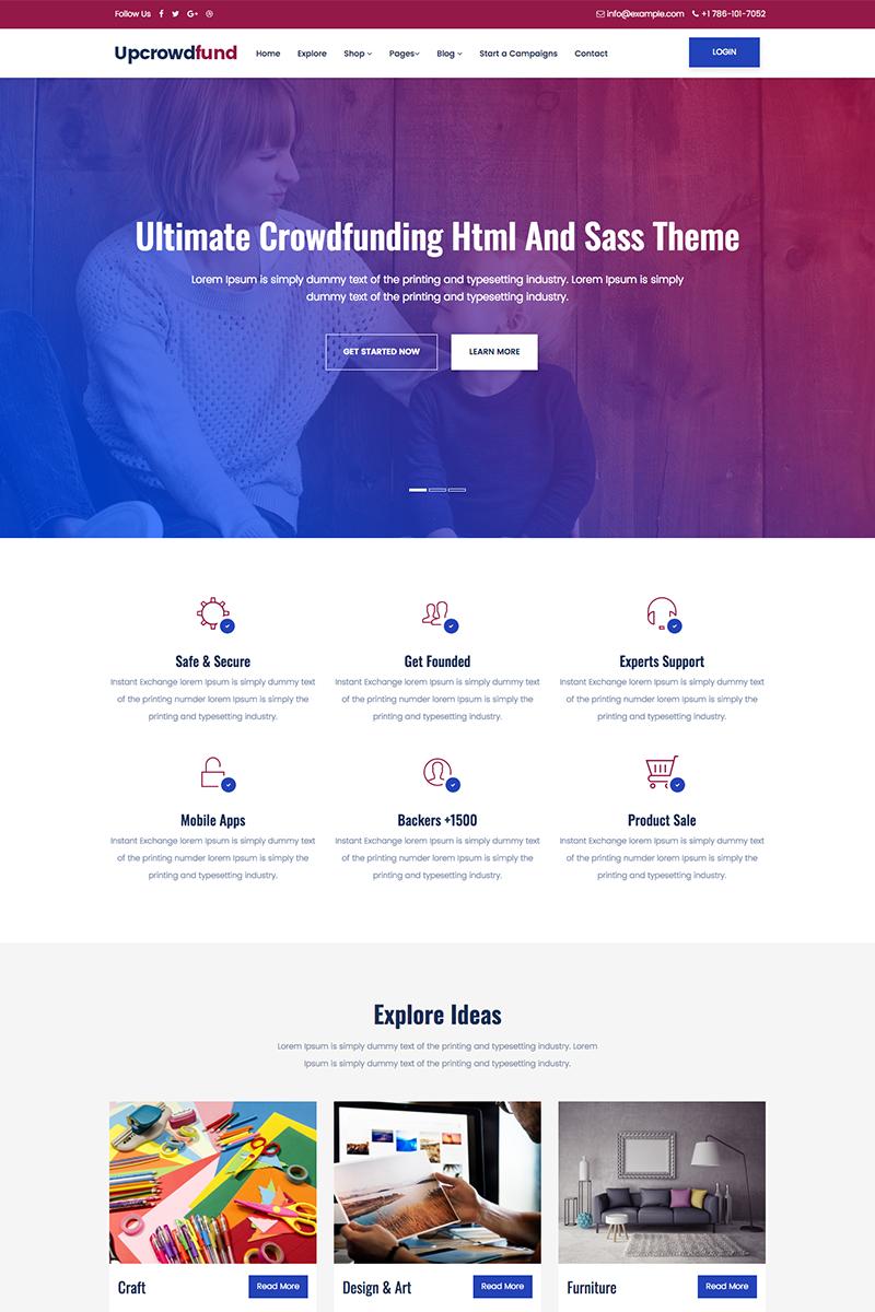 Upcrowdfund Html And Sass Crowdfunding Website Template 68576 Crowdfunding Website Website Template Crowdfunding