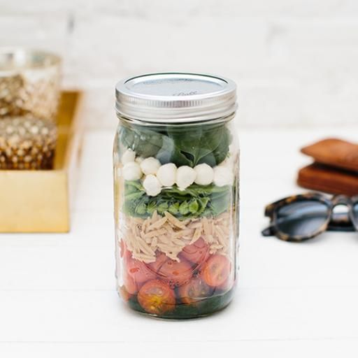 Spinach Salad in a Jar with Mozzarella, Orzo and Snap Peas | Earthbound Farm Organic