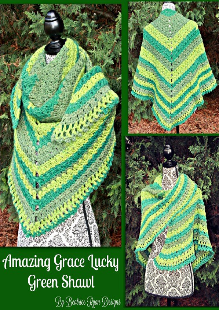Amazing Grace Lucky Green Shawl Free Crochet Pattern!   ROPAS EN ...