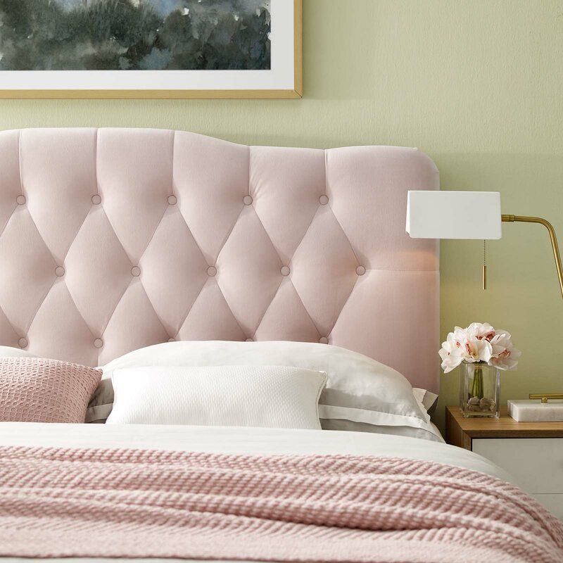 Roundtree Upholstered Panel Headboard In 2020 Velvet Headboard Pink Headboard Headboard