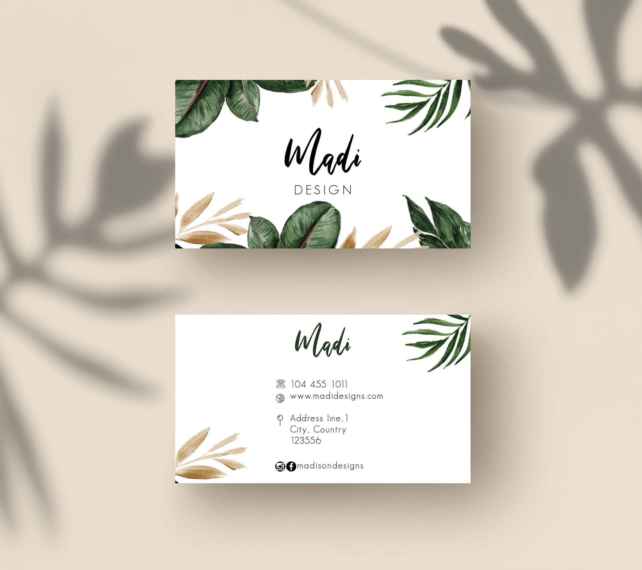 Tropical Business Cards Palm Tree Cards Custom Business Card Template Editable Contact Card Spa Business Cards Business Card Design Business Cards Creative