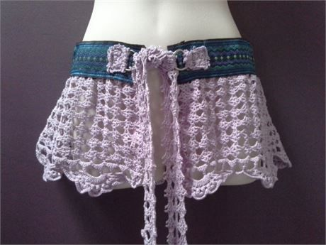 WOMANS GYPSY BELT over skirt, bohemian clothing, pink lavender crochet belt  She…