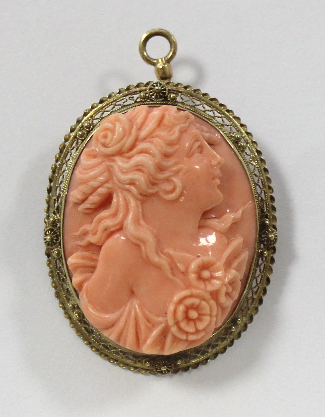 Hand carved coral cameo pin brooch 14k sold gold cameos hand carved coral cameo pin brooch 14k sold gold aloadofball Images