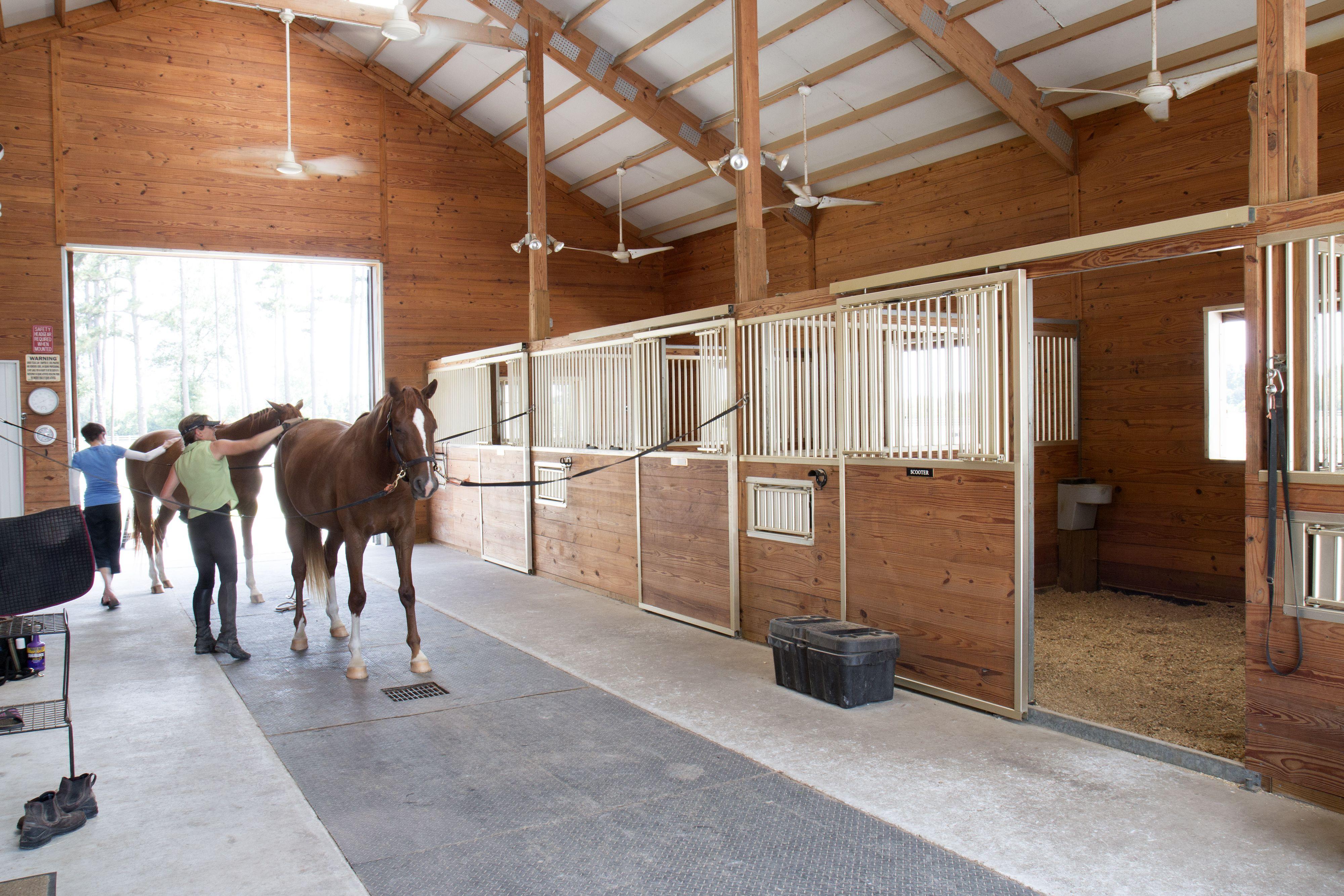 Morton buildings horse barn interior in texas