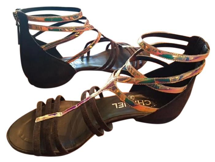 63aa576f7 Chanel Fabulous Gladiator Iridescent Trim On Flat (eu 37) Navy Sandals. Get  the